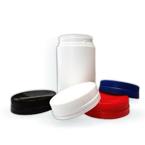 Beli plastični HDPE lončki 500 ml ali 800 ml s pokrovčki različnih barv
