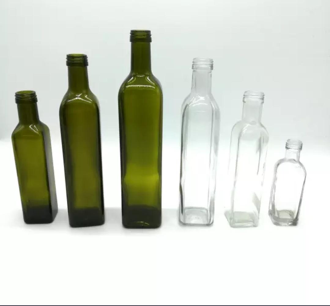 Zelene ali transparentne steklenice za oljčno olje 100 ml, 250 ml, 500 ml in 750 ml